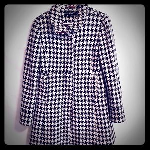 Black Rivet Wool Houndstooth Coat